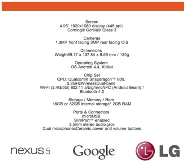 Nexus 5 specifikacie