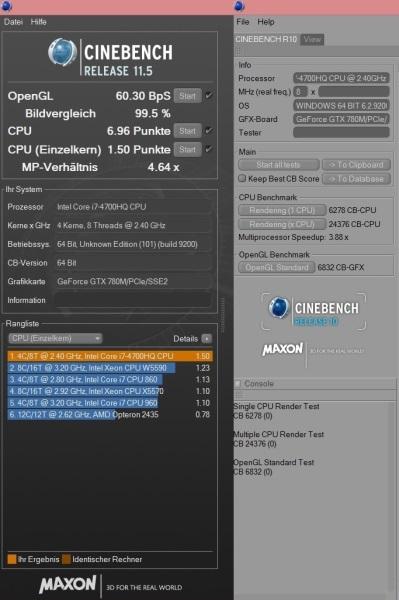 ASUS G750 - Cinebench