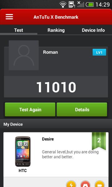 HTC Desire 200 - AnTuTu X-2
