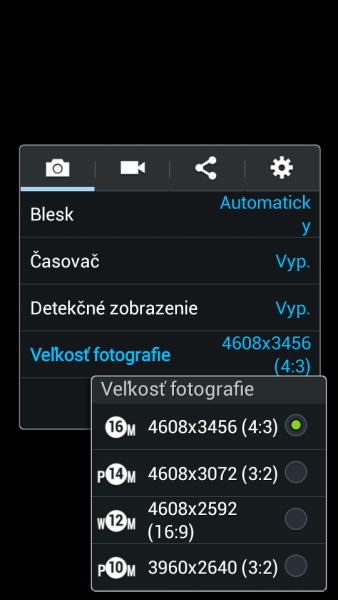 Samsung Galaxy S4 Zoom - nastavenie fotoaparatu