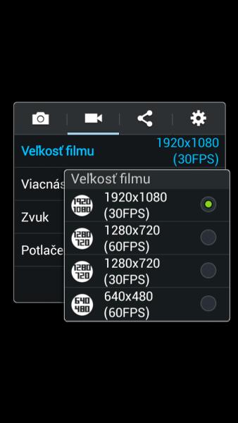 Samsung Galaxy S4 Zoom - nastavenie videa