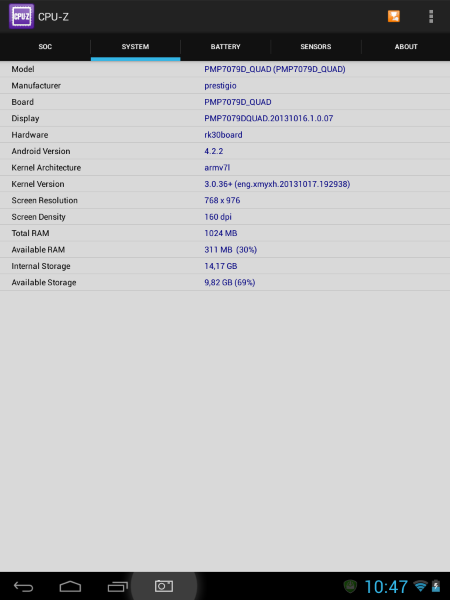 Prestigio Diamond 7.85 CPU-Z I