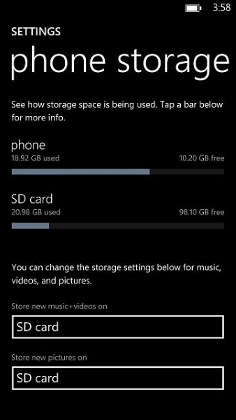 Windows Phone a Sandisk 128 GB