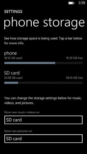Windows Phone a Sandisk 128 GB