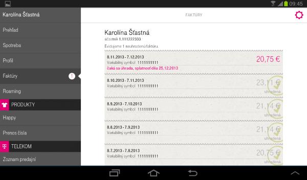 aplikacia telekom faktury - tablet