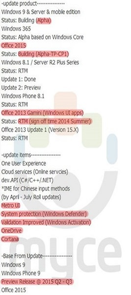 Windows phone 9 info