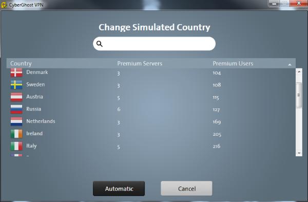 cyberhost5 country list
