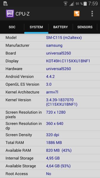 Samsung K Zoom - CPU-Z2
