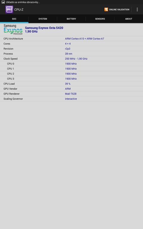 Samsung Galaxy Tab S 10.5 CPU-Z
