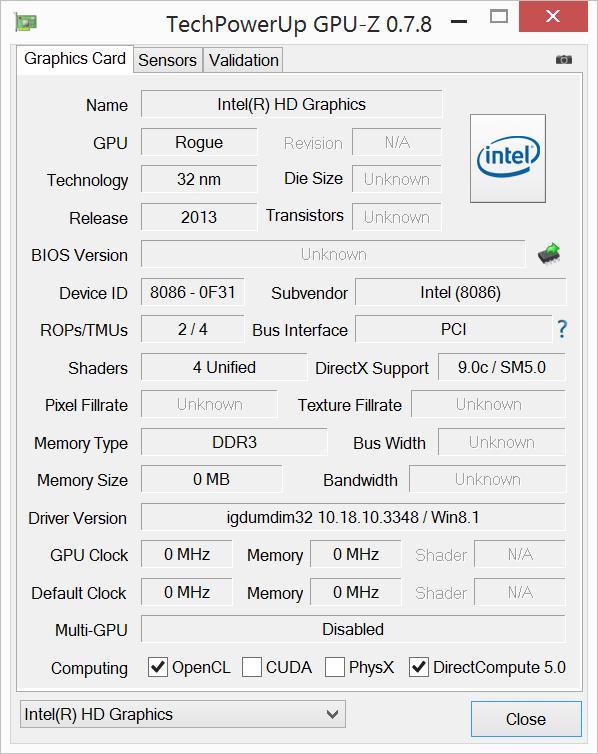 Lenovo Miix 2 10 GPU-Z
