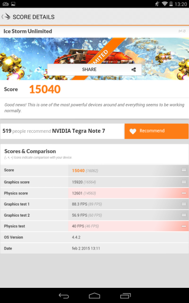 Gigabyte Tegra Note 7 3D Mark 05