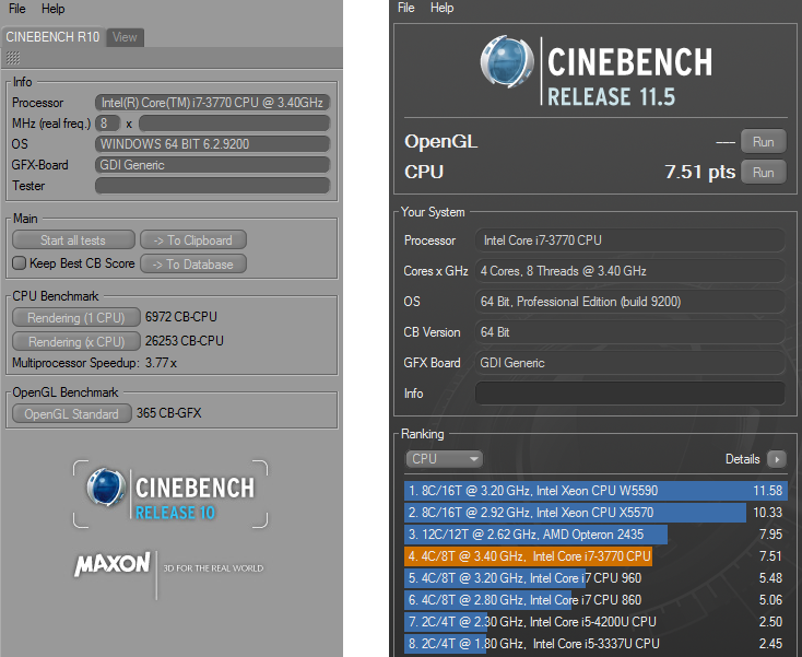 HP Compaq Elite 8300 AiO Cinebench R10 a R11.5