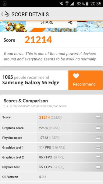 Samsung Galaxy S6 Edge 3D Mark 06