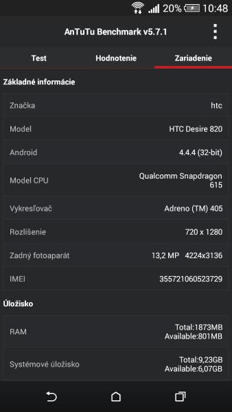 HTC Desire 820 AnTuTu Benchmark 03