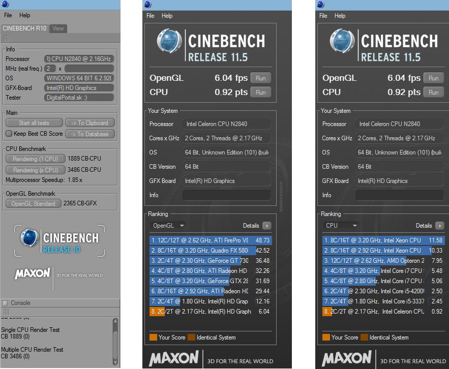 HP 15-r164nc Cinebench R10 a R11.5