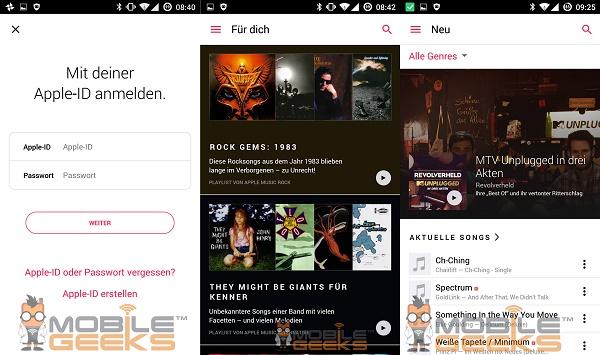 Apple Music Android aplikácia 01