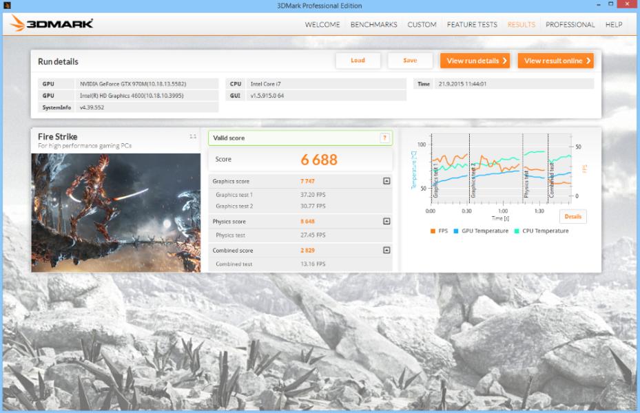 MSI GE62 Apache Pro 3D Mark 03