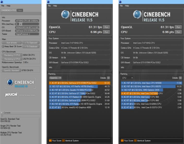 MSI GE62 Apache Pro Cinebench R10 a R11.5