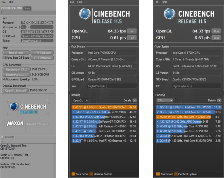 Eurocom Sky X4 Cinebench R10 a R11.8