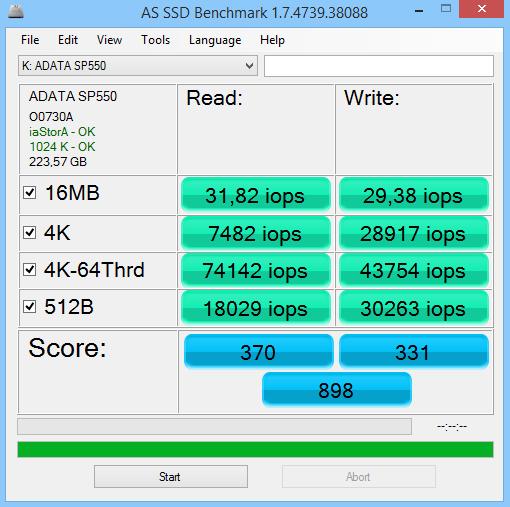 ADATA Premier SP550 240GB AS SSD Benchmark 02