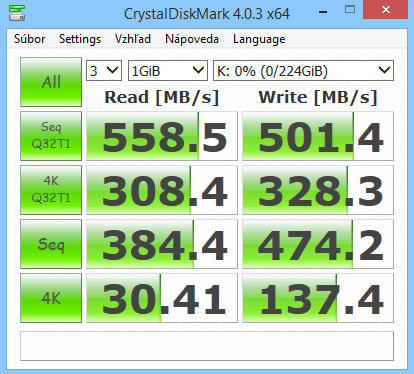 ADATA Premier SP550 240GB CrystalDiskMark