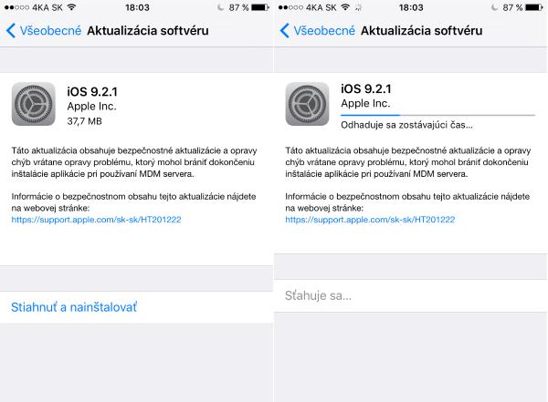 Apple iOS 9.2.1 update 01