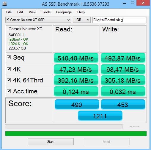 Corsair Neutron XT 240GB AS SSD Benchmark 01