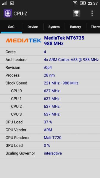 Lenovo Vibe P1m CPU-Z