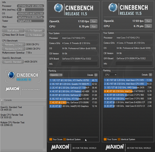 ASUS N551JK Cinebench