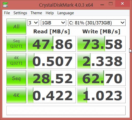 ASUS N551JK CrystalDiskMark