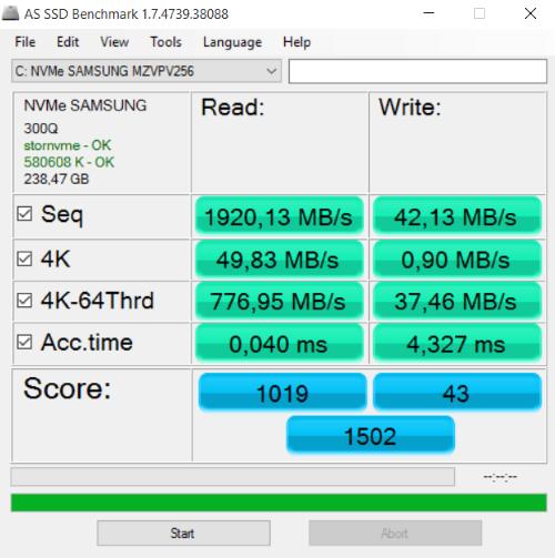 Eurocom Sky MX5 AS SSD Benchmark