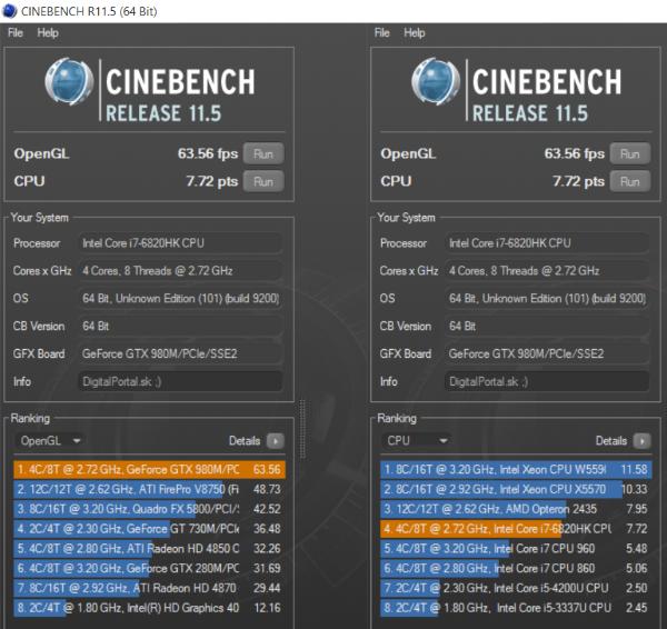 Eurocom Sky MX5 Cinebench R11.6