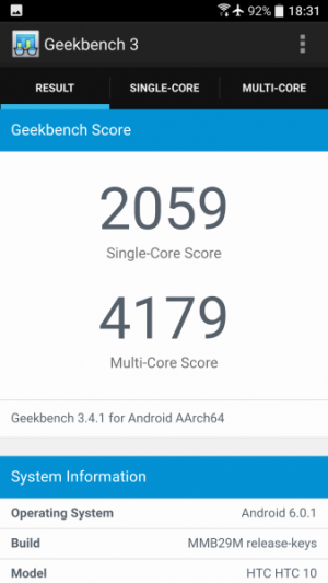 HTC 10 GeekBench 01
